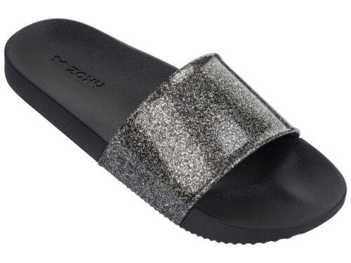 Zaxy Snap Glitter Slide Beach Sliders Black Glitter