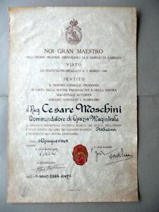 Patente-Ordine-Militare-Ospitaliero-S-Giorgio-1949-Autografo-Visconti-Prasca