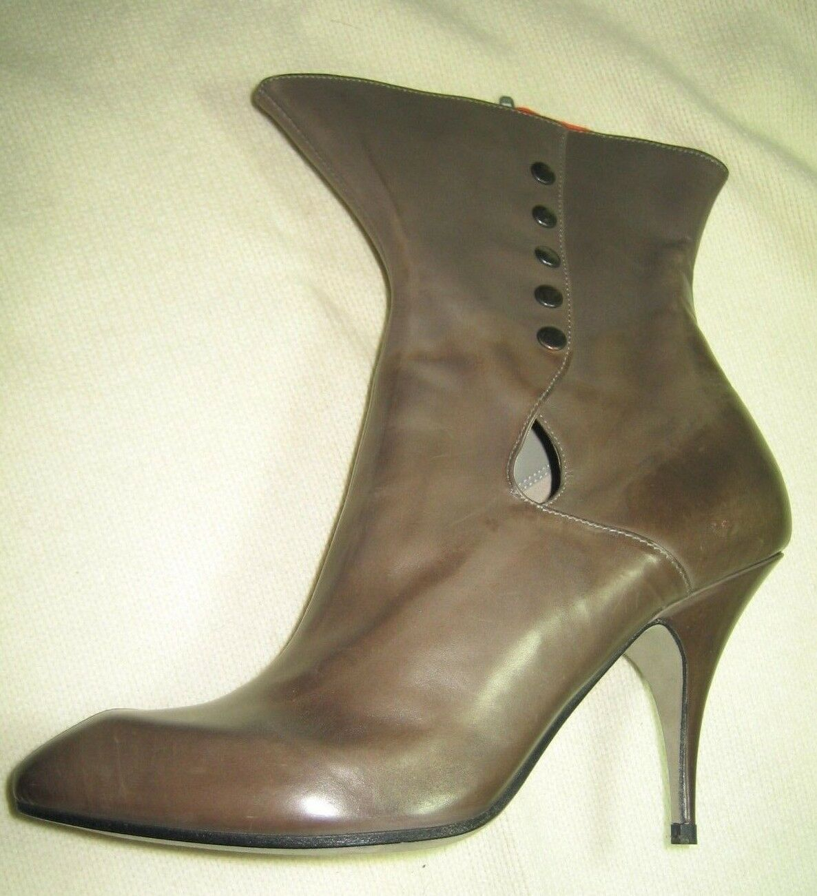 ITALIAN LEATHER BOOTIES BY STEPHEN VENEZIA MID-CALF SIDE BUTTONS 37 CHIC
