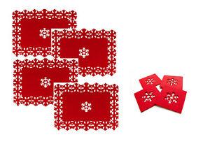Juego-de-4-Manteles-Individuales-4-Posavasos-Copo-de-Nieve-Navidad-lazercut-Rojo-Fieltro-Tabla-Nuevo
