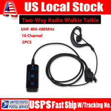 Mini Portable UHF 400-480MHz 16CH Two-Way Radio Walkie Talkie Intercom +Earphone