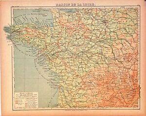 Cartina Geografica Della Loira Francia.Dettagli Su Carta Geografica Antica Francia Bacino Della Loira Loire France 1880 Old Map
