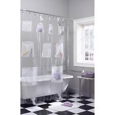 Item 1 Shower Curtain Vinyl PEVA Liner With Mesh Pockets Quick Dry