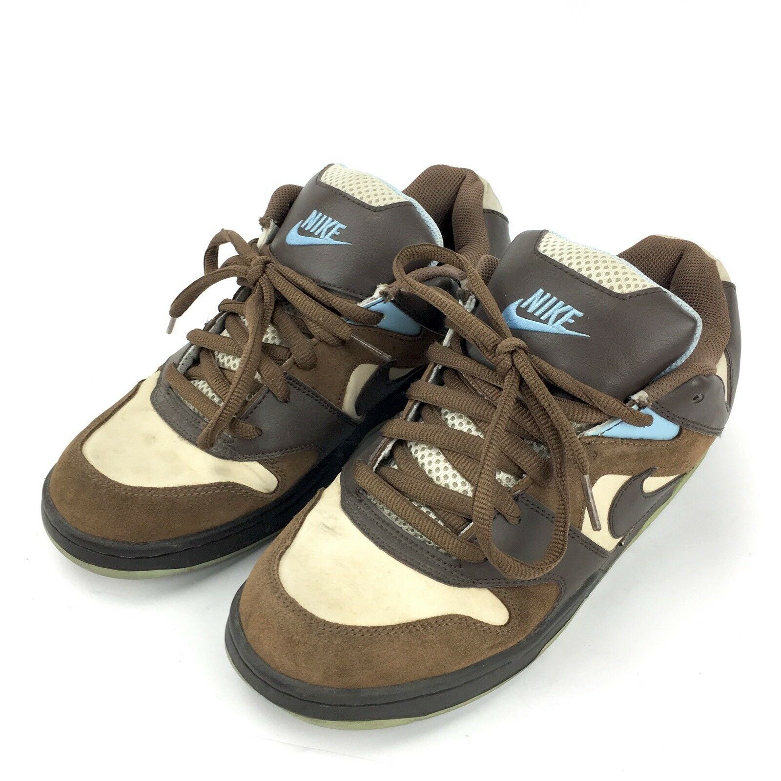 Nike NYX Air Contra Skaters Size 8 Brown Birch Blue Shoes