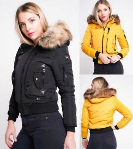 5d831ae8a Details about Womens Puffer Jacket Faux Fur Hooded Parka Coat Size 8 10 12  14 Mustard