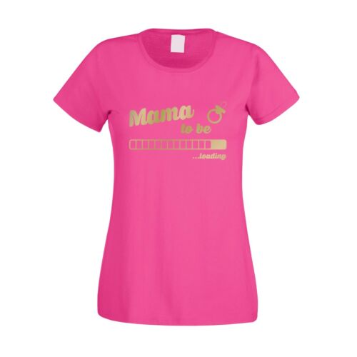 Damen T-Shirt Mama to be loading Familie Family Mutter Schwanger Kind Baby