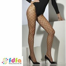 BLACK DIAMOND NET TIGHTS PANTYHOSE ladies fancy dress accessory womens hosiery
