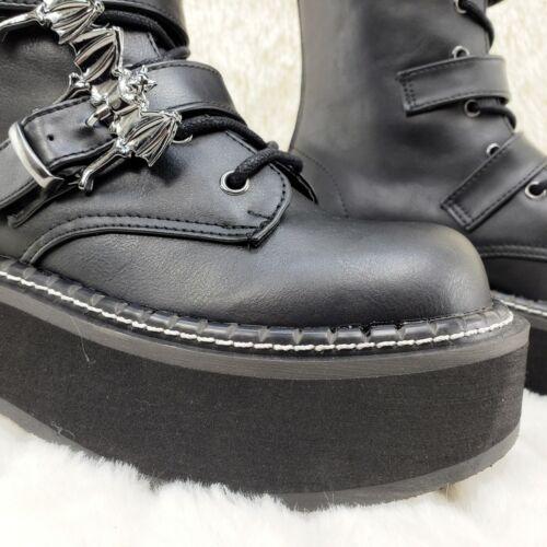 "Demonia Emily 322 Black Matte 2/"" Platform Bat Buckle Combat Goth Boots 6-12 NY"