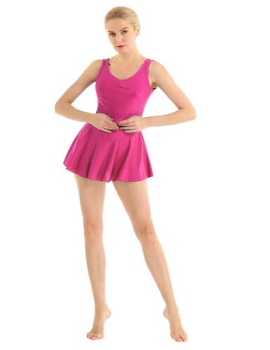Women/'s Ballet Dance Leotard Dress Gymnastics Bodysuit Sleeveless Skirts Costume