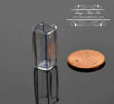 1:12 Miniature Blue Glass Square Modern Vase BD HB402