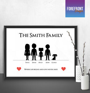 Personalised-FAMILY-gift-print-father-039-s-day-mother-039-s-day-keepsake-present-A4-A3