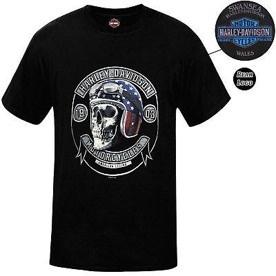 Harley Davidson Mens Skull Helmet Black T-Shirt Swansea Limited Edition