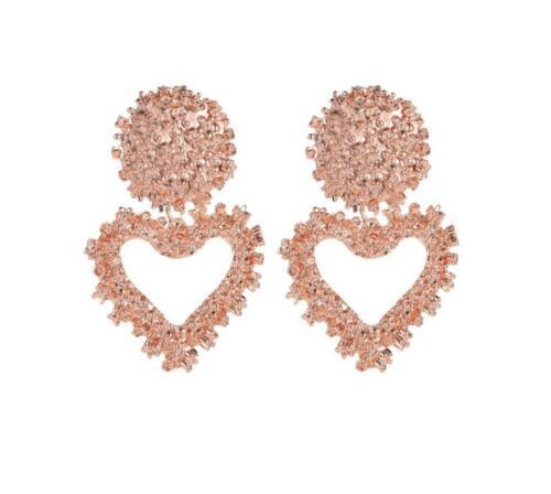 Women Punk Heart Big Gold Dangle Drop Earrings Jewelry Metal Statement Geometric