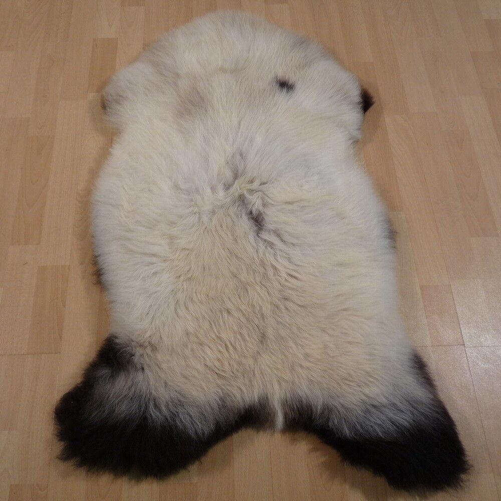 Schaffell Lammfell Fell Unikat, ökologisch ökologisch ökologisch gegerbt, weiß-schwarz 110x70cm  12433 479823