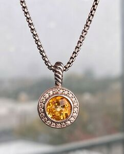 David-Yurman-Round-Citrine-amp-Diamond-Pendant-Necklace-925-Sterling-16-034