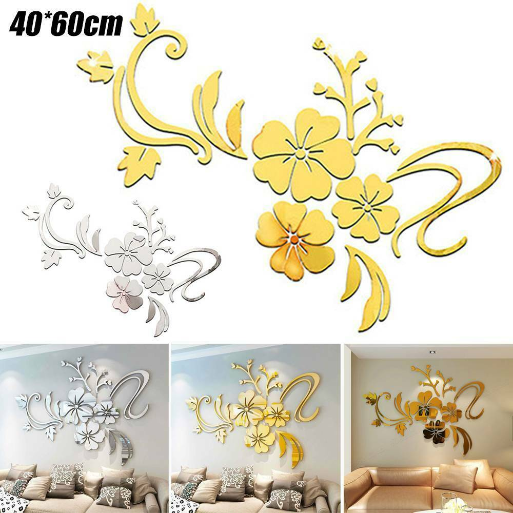 3D Mirror Flower Removable Wall Stickers Art Mural Decal Living Room Decorations