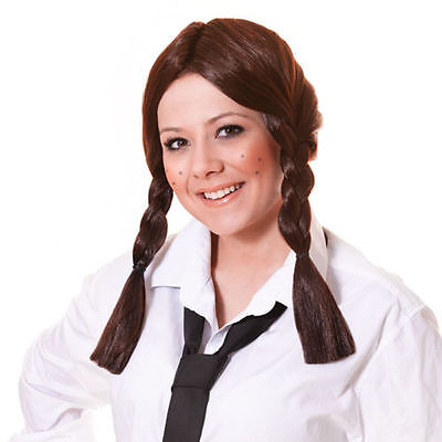Ladies Brown Plaits Dorothy Wig Wizard Of Oz School Girl St Trinians World Book