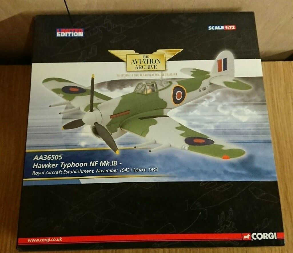 alta calidad Corgi Corgi Corgi AA36505 Hawker Typhoon NF Mk.1B RAE 1942-3 Ltd Edición No. 0002 de 2560  ahorra hasta un 80%