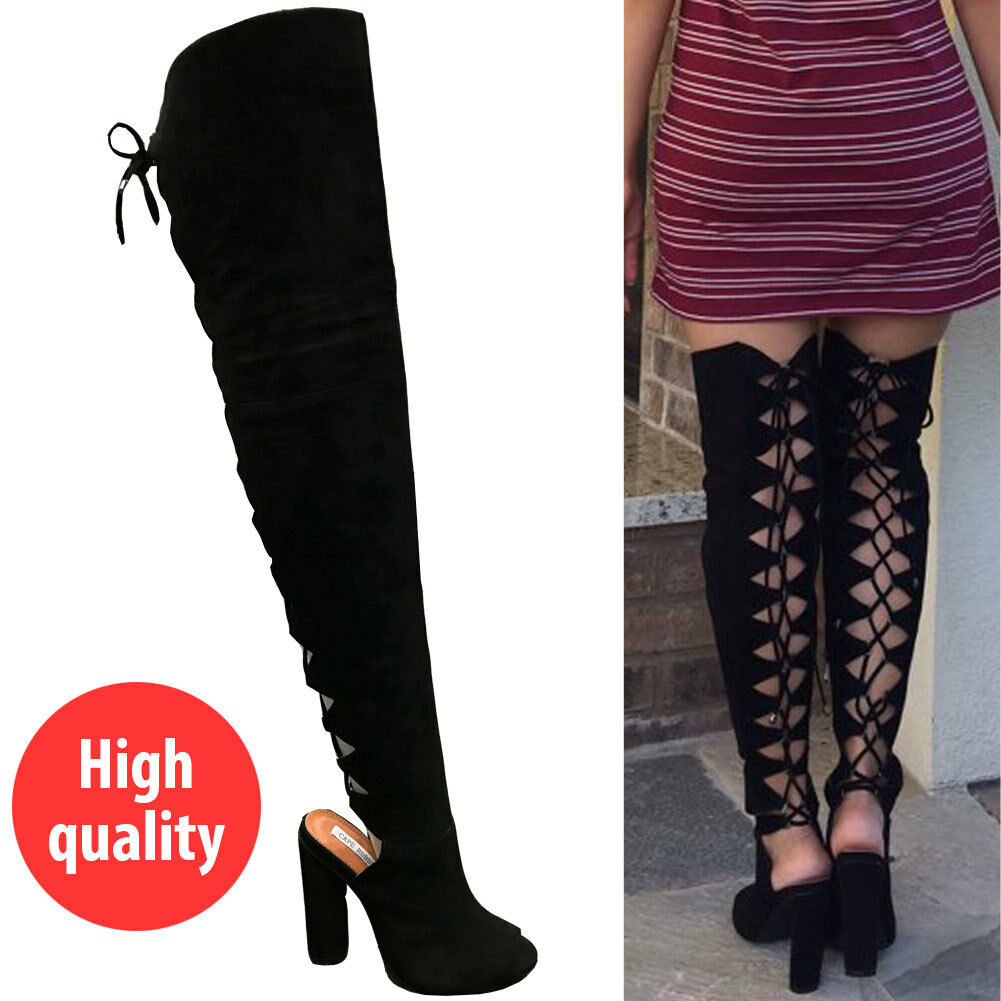 Women Back Lace Up Chunky Over The Knee High Heel Boots Slouchy