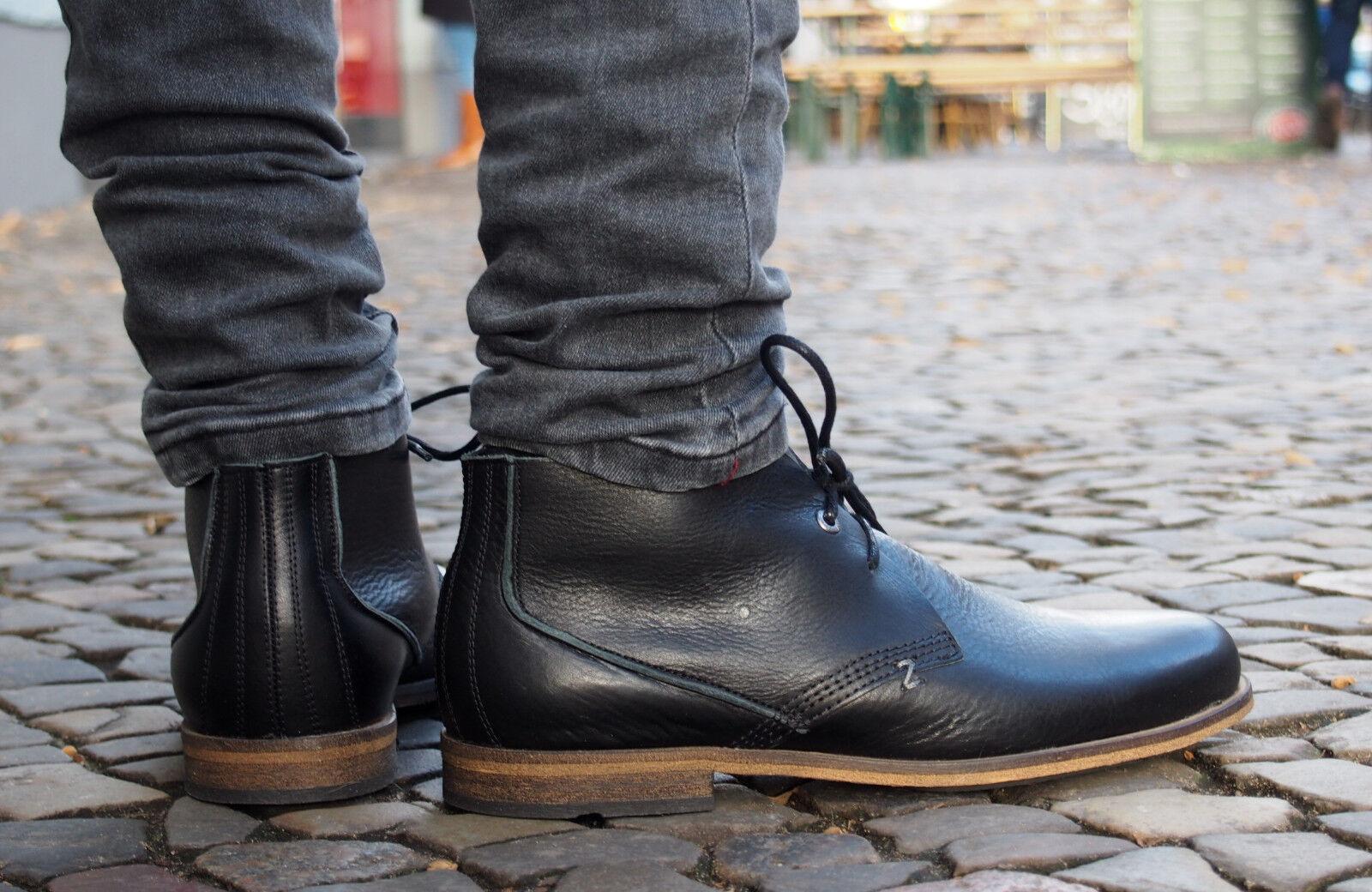 HUB Footwear Herrenschuhe SPURS L black schwarz Echtleder Schnürschuhe NEU SALE