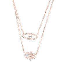 14K Rose Gold Diamond Eye And Hamsa Hand 2 Charm Pendant Double Chain Necklace