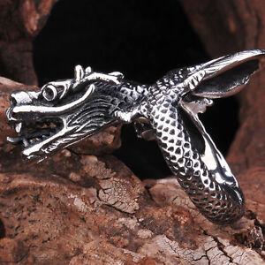 Aa 012 Anillo Gotico Gothic Dragón De La Suerte Chino Metal En Acero