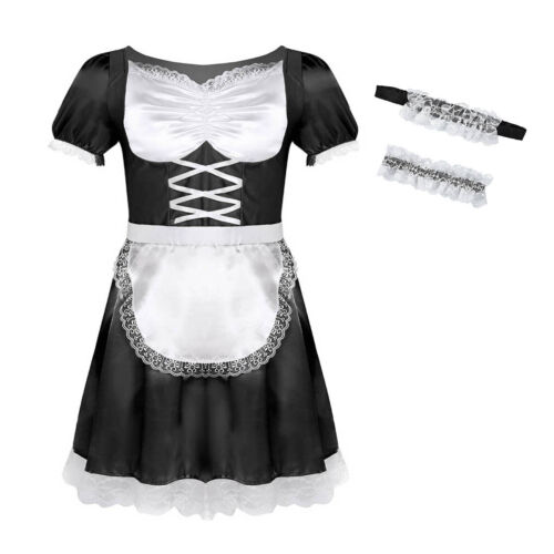 Men/'s Satin French Maid Dress Uniform Cossdress Lingerie Costume Outfits Set