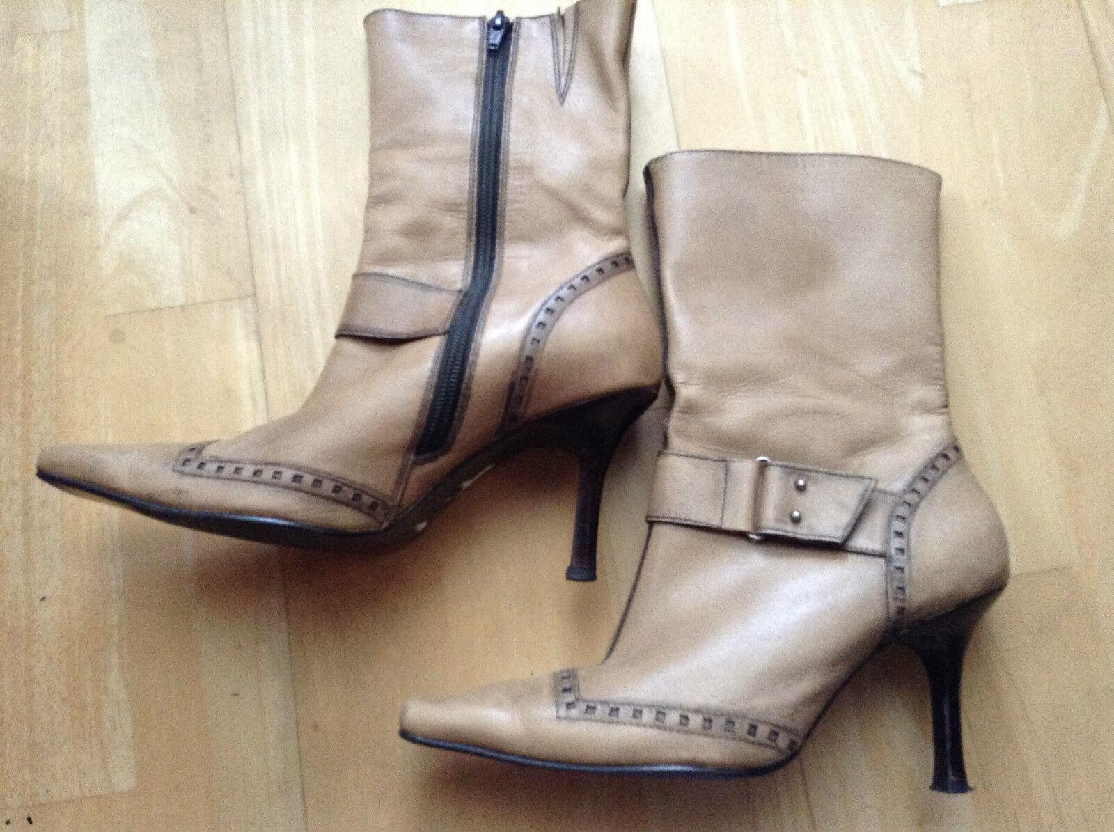 Women Antique Beige Brown Leather Boots Stiletto Heel US 7