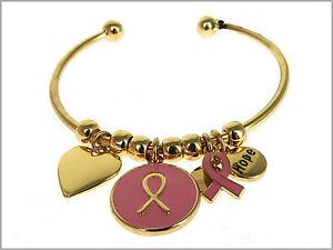 Pink Ribbon Breast Cancer Awareness Inspirational HOPE Bangle Bracelet Gold