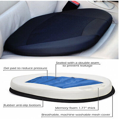 Portable Car Drivers Seat Office Chair Stadium W Memory Orthopedic Gel Cushion
