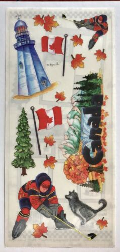 CANADA THEMED 5X12 INCH SHEET STAMPING STATION STICKERS HOCKEY MAPLE FLAG