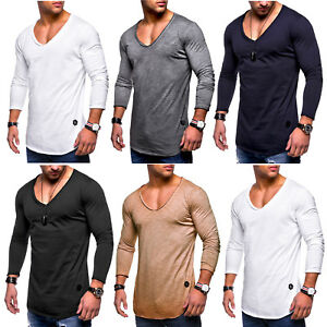 Classic-Mens-Long-Sleeve-T-Shirt-Slim-Fit-V-Neck-Tops-Shirts-Casual-Muscle-Tee