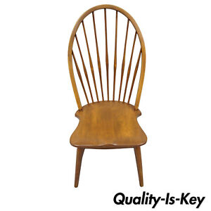 Vintage Maple Wood Fan Back Colonial Windsor Dining Side Chair Made In Slovenia Ebay