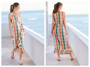 NEXT-Multi-Stripe-Checked-Sleeveless-Summer-Wrap-Dress-size-14-Frill-Maxi-Midi