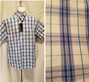 New-Roundtree-amp-Yorke-Men-039-s-Size-L-Large-Button-Down-Blue-Plaid-Short-Sleeve-Shirt