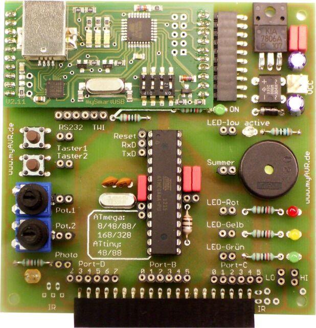 AVR Atmel Mega Board mit USB ISP Programmer, bestückt.
