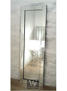 Blenheim-Silver-Glass-Framed-Full-Length-Bevelled-Wall-Mirror-16-034-x-48-034-Large
