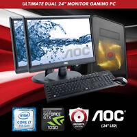 Origin Pc Dual 24 Monitor Ultimate Gaming Pc Intel I7, 4.2ghz , Nvidia 1050 2gb