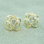 14k Gold plated with Swarovski crystals stud rose earrings