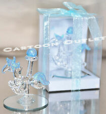 12 PC CRYSTAL CAROUSEL GLASS BABY SHOWER PARTY FAVORS BLUE RECUERDOS HORSE GIFTS