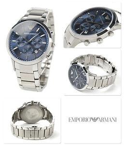 Emporio Armani Men's Renato Chronograph Watch AR2448 Stainless Steel/blue
