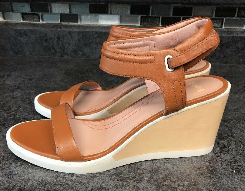 Camper Limi Strap Womens Wedge Sandal Size 10  EU 40 Dark Beige