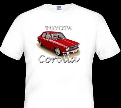 TOYOTA  KE10  COROLLA COUPE QUALITY WHITE  T-SHIRT 6 CAR COLOURS BIG FIT