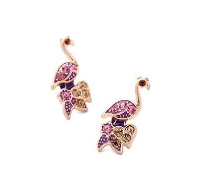 E1062 Betsey Johnson Crystal Rio Amazon Bird Peacock Macaw Parakeet Earrings US