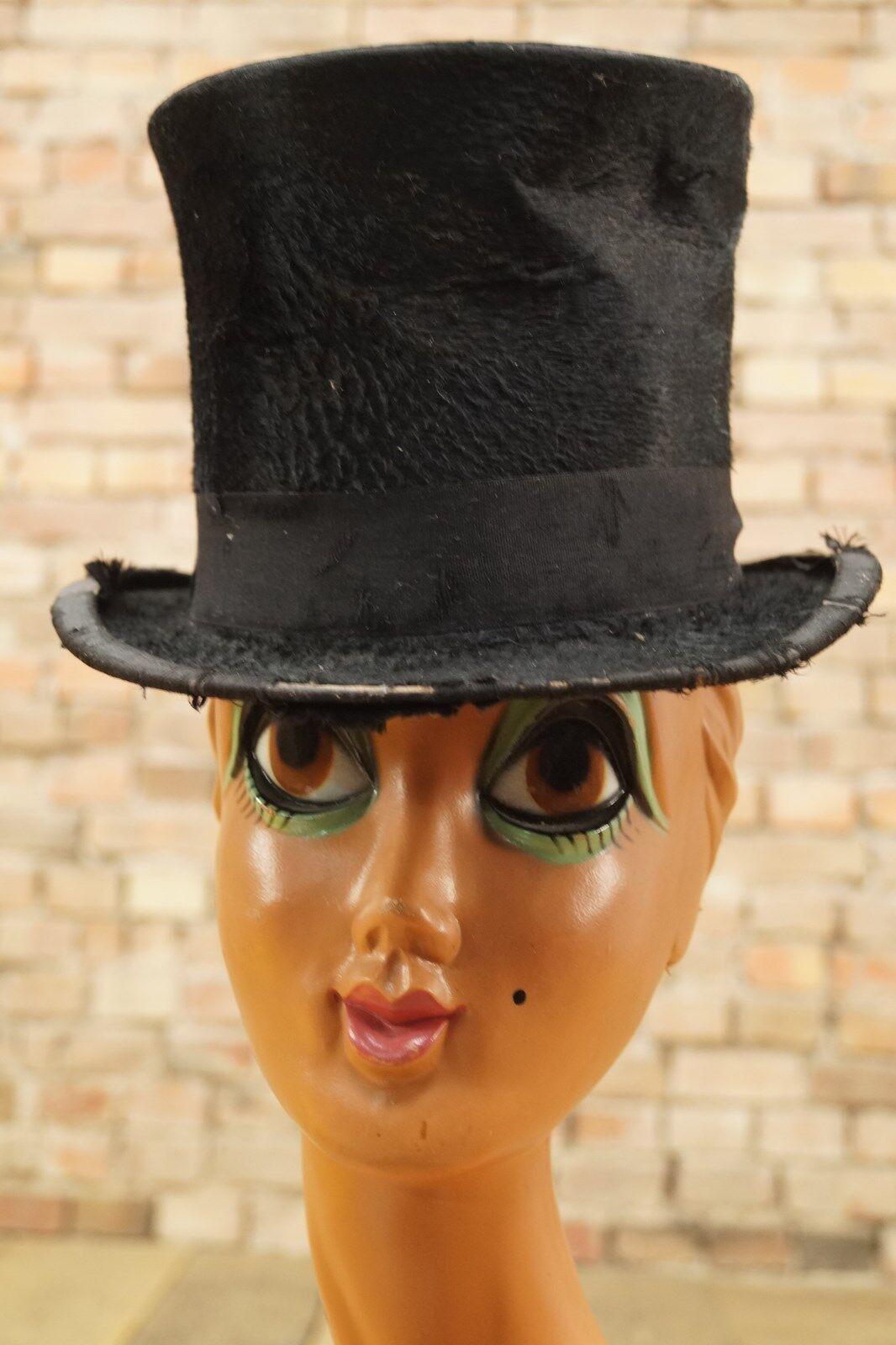 Antiguo Herrn Sombrero Cilindro Vintage Claque Negro Hat Shabby Tramp-Look