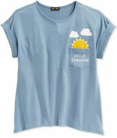 Monteau's Max & Riley Girls' Graphic Print T-shirt, Gray, Size L
