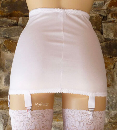 6 Suspenders NYLONZ Vintage Style Classic OB 6 Strap Girdle WHITE MADE IN UK