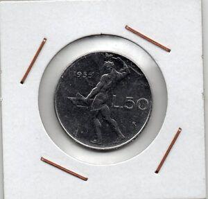 Italy : 50 Lire 1955 R ( Vulcano ) XF+ - España - Italy : 50 Lire 1955 R ( Vulcano ) XF+ - España