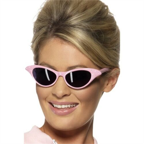 Flyaway Style Rock And Roll Sunglas Sunglasses Pink Fancy Dress Ladies Grease