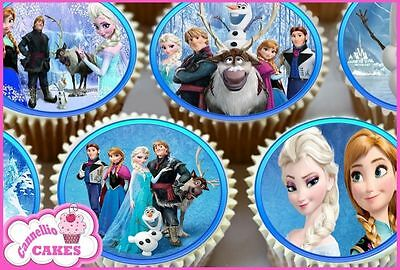 24 X FROZEN BIRTHDAY EDIBLE CUPCAKE TOPPERS CAKE WAFER RICE PAPER 8906